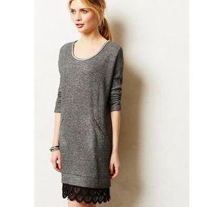 Anthropologie Dolan marled grey lace bottom dress